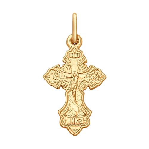 Золотая православная подвеска крестик