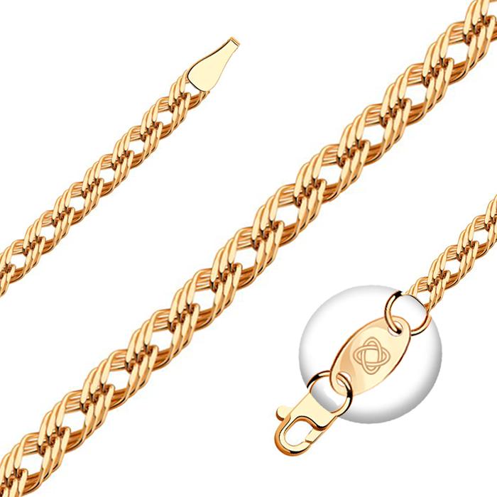 Золотая цепочка с плетением ромб тройн
