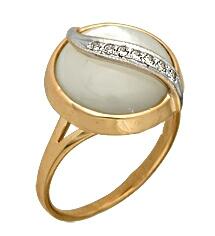 Золотое кольцо с перламутром и фианитом