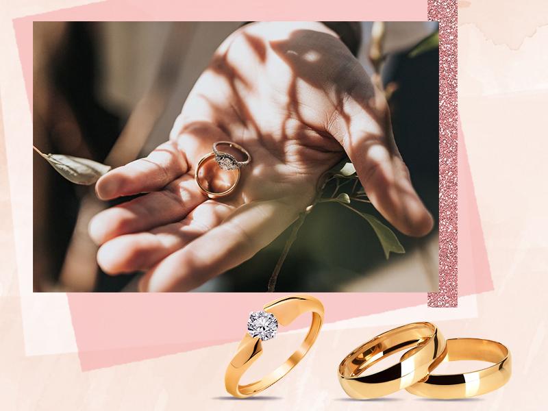 Помолвочное кольцо и обручальная пара